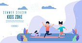 Bright Flyer Summer Season Kidz Zone Lettering. Poster Brother and Sister Run in Park with Dog and Laugh Cartoon. Children Play Safely Outside Flat. Vector Illustration Landing Page.