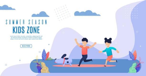 ilustrações, clipart, desenhos animados e ícones de bright flyer temporada de verão kidz zona lettering. - dia das crianças