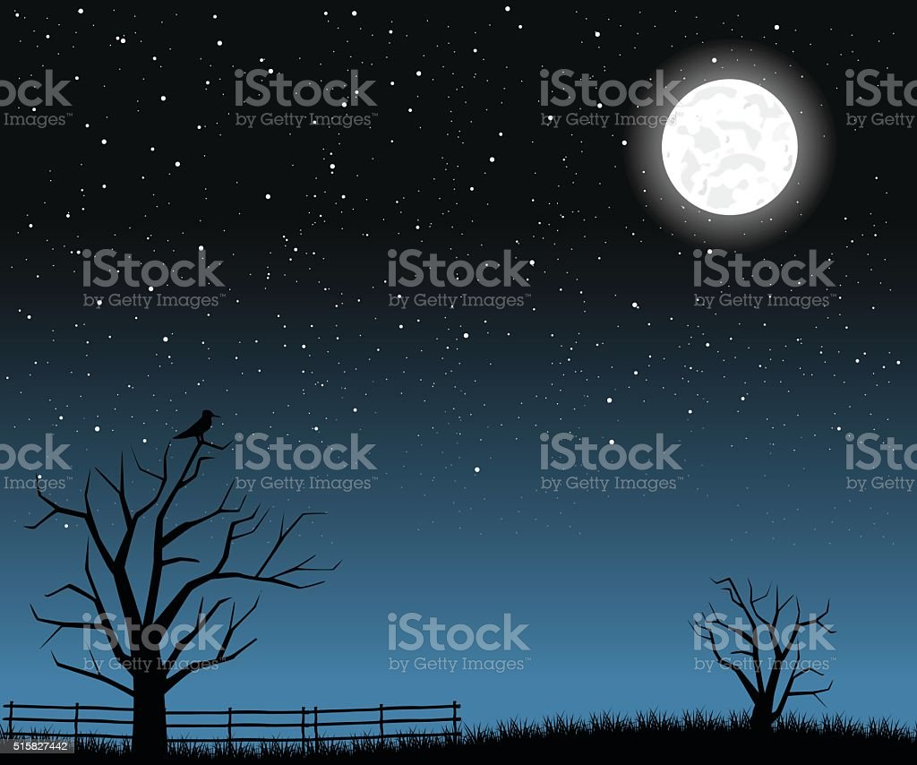 Bright full moon with tree branches vector art illustration