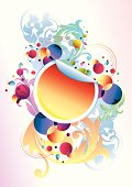 bright sticker on funky decorated background, vector artwork