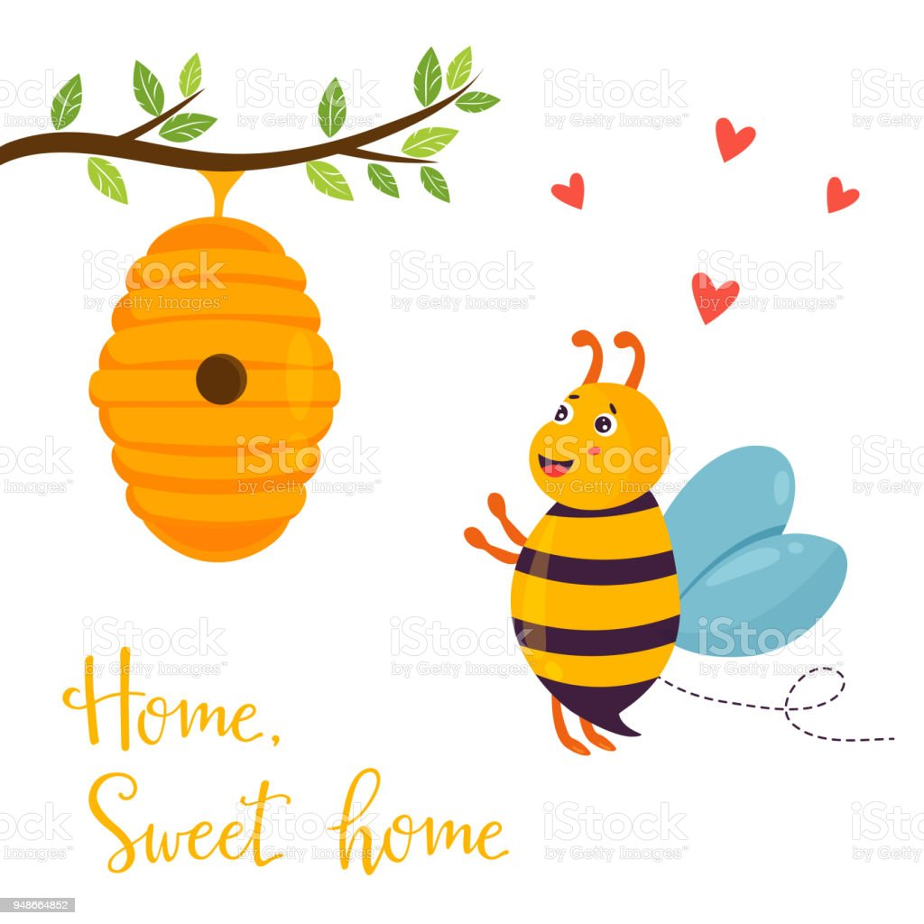 Bright Funny Cartoon Bee And Beehive Stock Vector Art & More Images ...