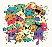 Bright funny doodles, vector illustration, cute cartoon characters