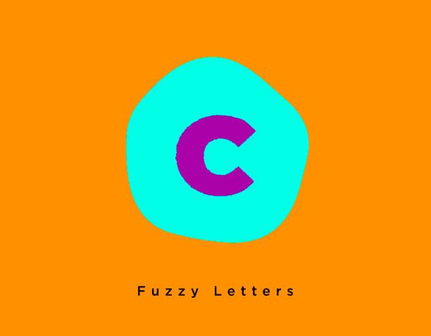 Bright Fuzzy Letter C on a Fun Contrast Turquoise and Orange Background vector art illustration
