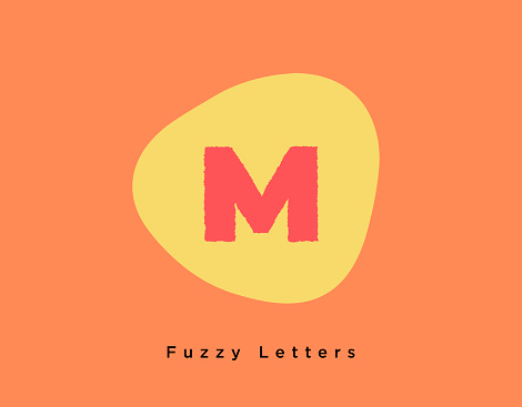 Bright Fuzzy Letter M on a Flat Orange Colored Background