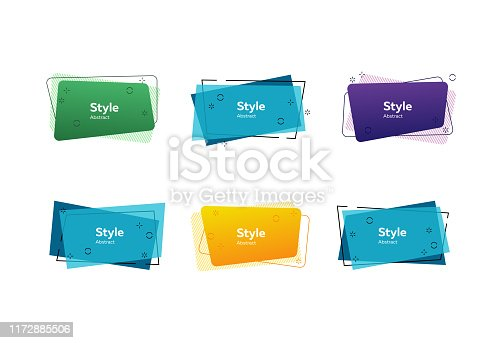 Bright geometric banners. Dynamical colored forms and line. Gradient banners with flowing shapes. Template for design of logo, flyer or presentation. Vector illustration