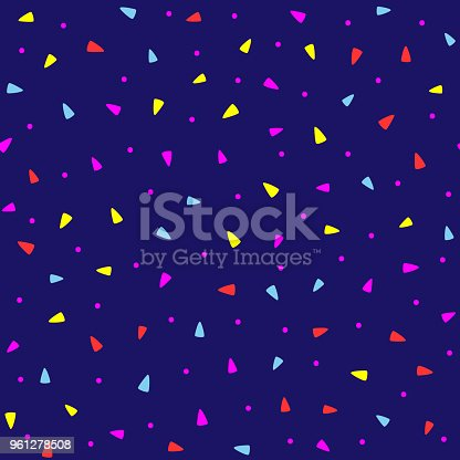 istock Bright geometric seamless pattern drawn by hand. Endless colorful print for children. 961278508