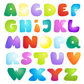Bright multicoloured glossy kids alphabet.