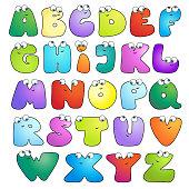 Bright multicoloured glossy kids alphabet.