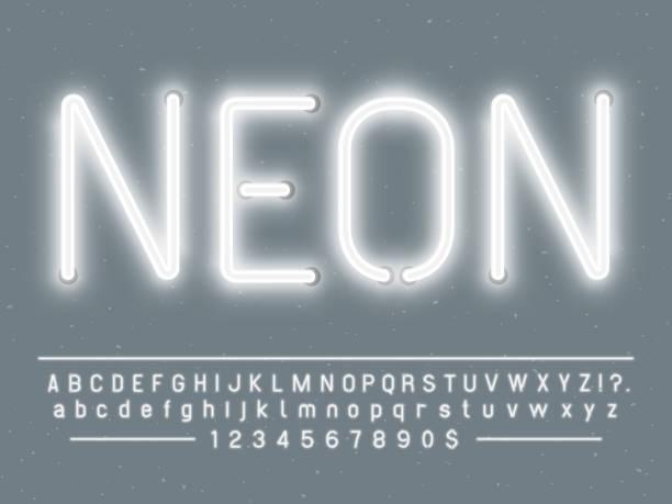 밝은 빛나는 화이트 네온 사인 캐릭터. 노 빛 글자와 숫자 램프와 벡터 글꼴 - 형광색의 stock illustrations