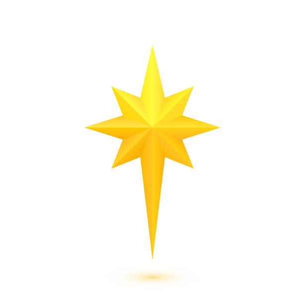 bildbanksillustrationer, clip art samt tecknat material och ikoner med ljusa golden julstjärna - spetsig vinkel