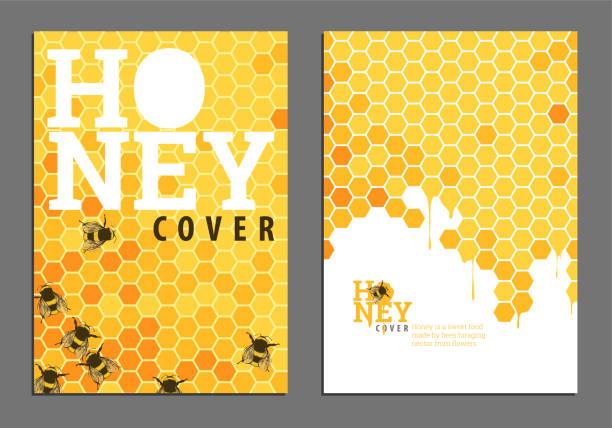 illustrazioni stock, clip art, cartoni animati e icone di tendenza di bright golden honey cover - miele dolci