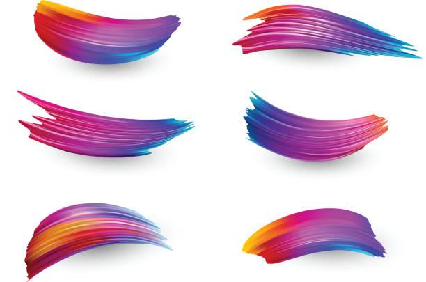 Hellen Farbverlauf Farbe Pinselstriche festgelegt. – Vektorgrafik