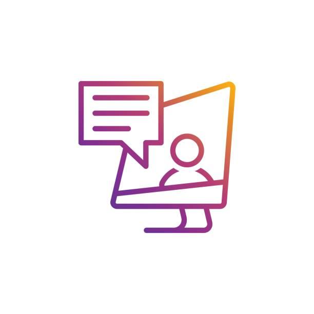 ilustrações de stock, clip art, desenhos animados e ícones de bright gradient vector education icon for online education, universities, schools etc. - webinar