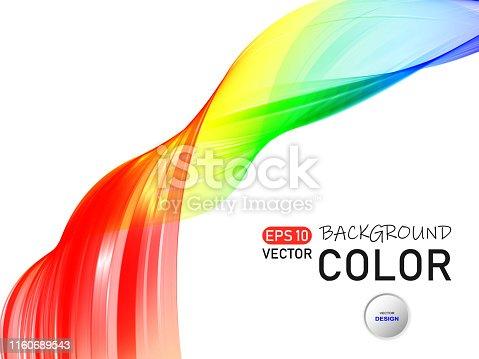 Bright gradient wave on white background