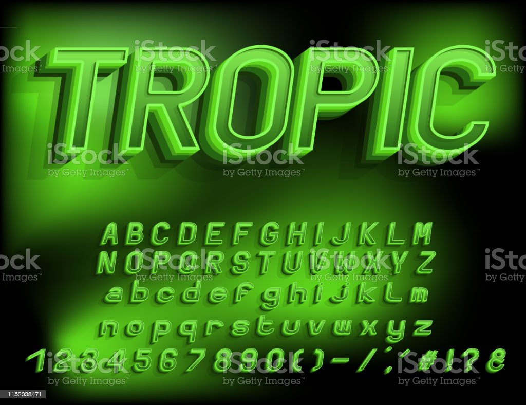 Bright Green 3d Alphabet Vector Layered Three Dimension