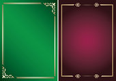 bright green and purple vector backgrounds with golden frames