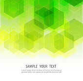 Bright green background.Abstract background consisting of green,transparent hexagons.