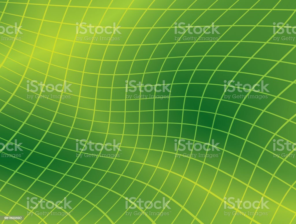 bright green background with distorted grid - vector vector art illustration