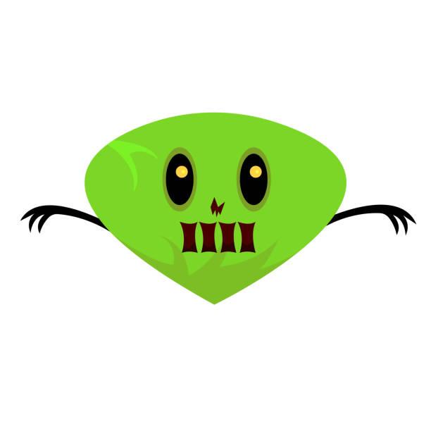 Bright green monster with shining orange eyes vector art illustration