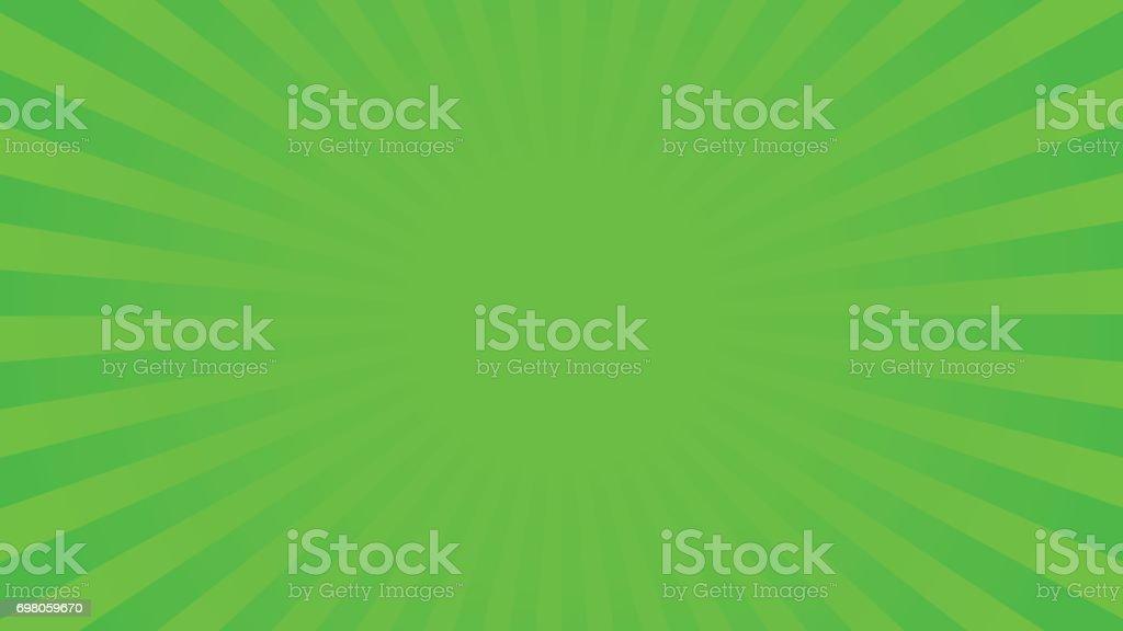 Bright green rays background vector art illustration
