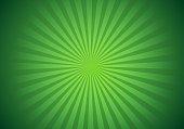 Bright green rays sunburst vector background