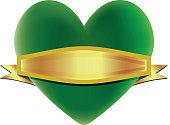A green heart for the environment with a removable banner.