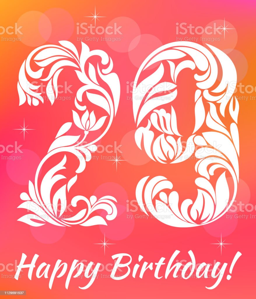 Bright Greeting card Template. Celebrating 29 years birthday. De vector art illustration