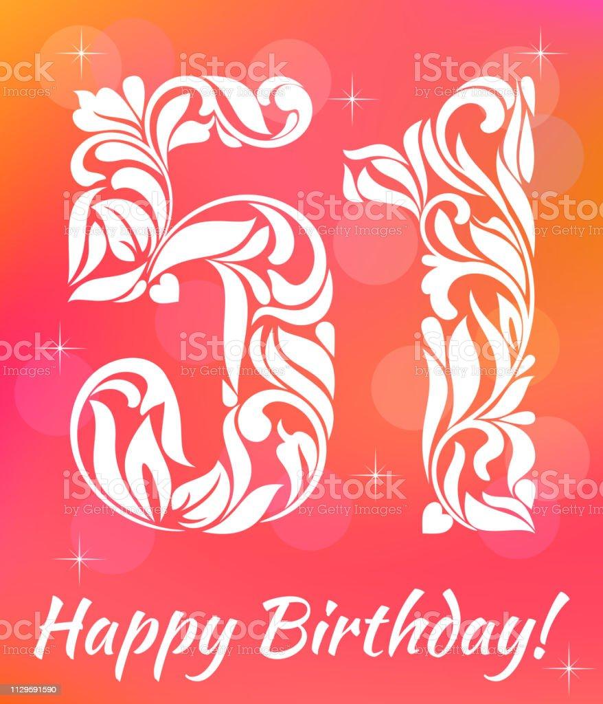 Bright Greeting card Template. Celebrating 51 years birthday. De vector art illustration