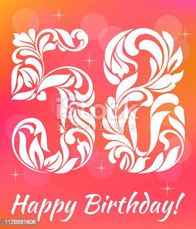 Bright Greeting card Template. Celebrating 58 years birthday. Decorative Font with swirls and floral elements.
