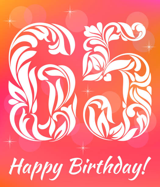 Bright Greeting card Template. Celebrating 65 years birthday. Decorative Font with swirls and floral elements. vector art illustration
