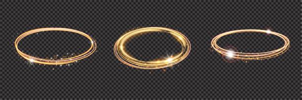 illustrazioni stock, clip art, cartoni animati e icone di tendenza di bright halo. set of abstract glowing circles. light optical effect halo on transparent background. vector illustration, eps10 - aureola