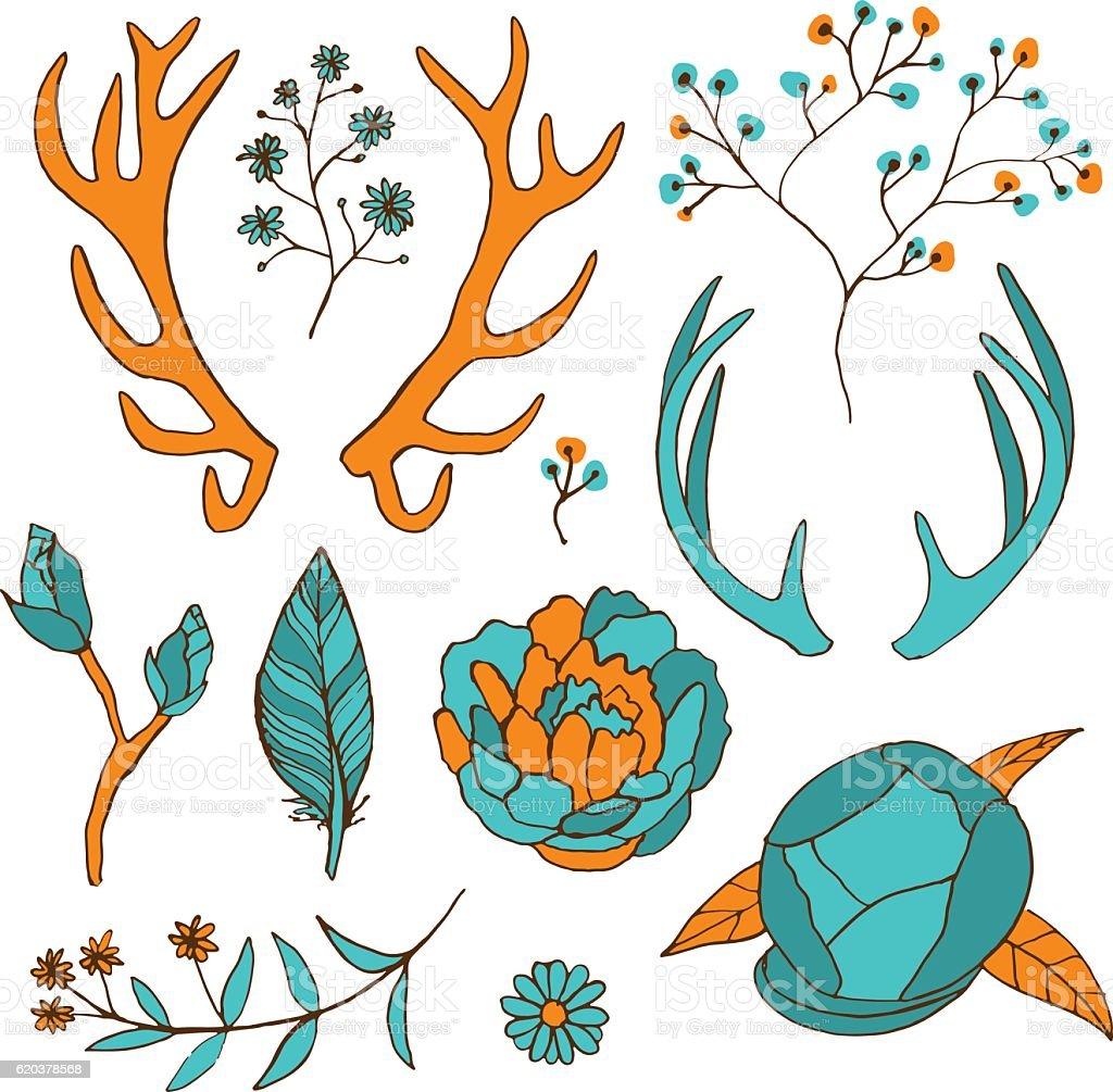 Bright hand drawn floral set with horns and flowers bright hand drawn floral set with horns and flowers - arte vetorial de stock e mais imagens de folha royalty-free