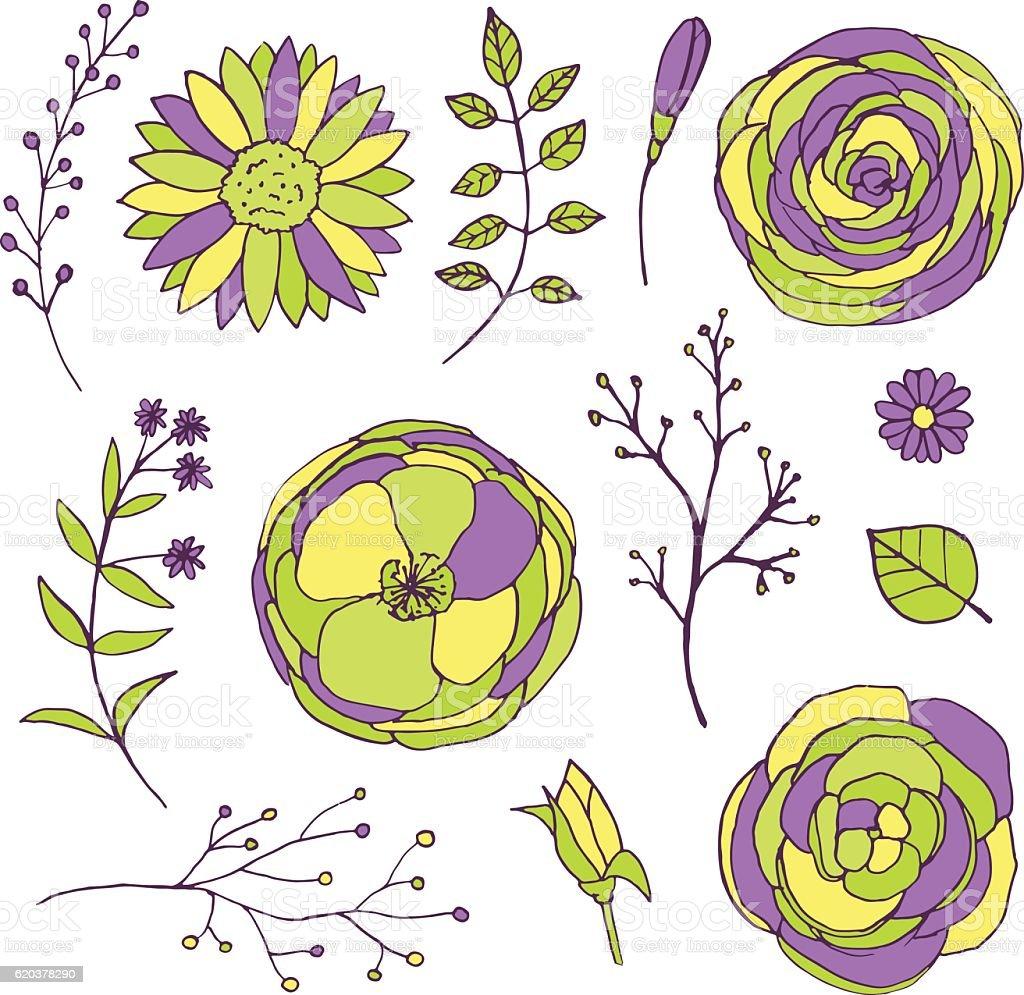 Bright hand drawn floral vintage doodle set with flowers bright hand drawn floral vintage doodle set with flowers - stockowe grafiki wektorowe i więcej obrazów bez ludzi royalty-free