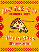 Bright Hand Drawn Pizzeria Promo Flyer or Poster with Slice of Pepperoni Pizza Icon in Yellow and Red Retro Style Textured Grain Paper Background