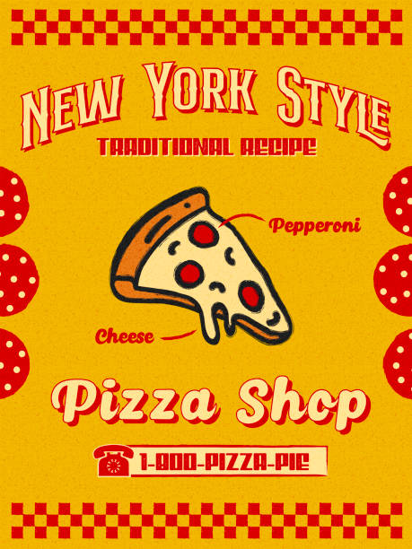 Bright Hand Drawn Pizzeria Promo Flyer or Poster with Slice of Pepperoni Pizza Icon in Yellow and Red Retro Style Textured Grain Paper Background vector art illustration