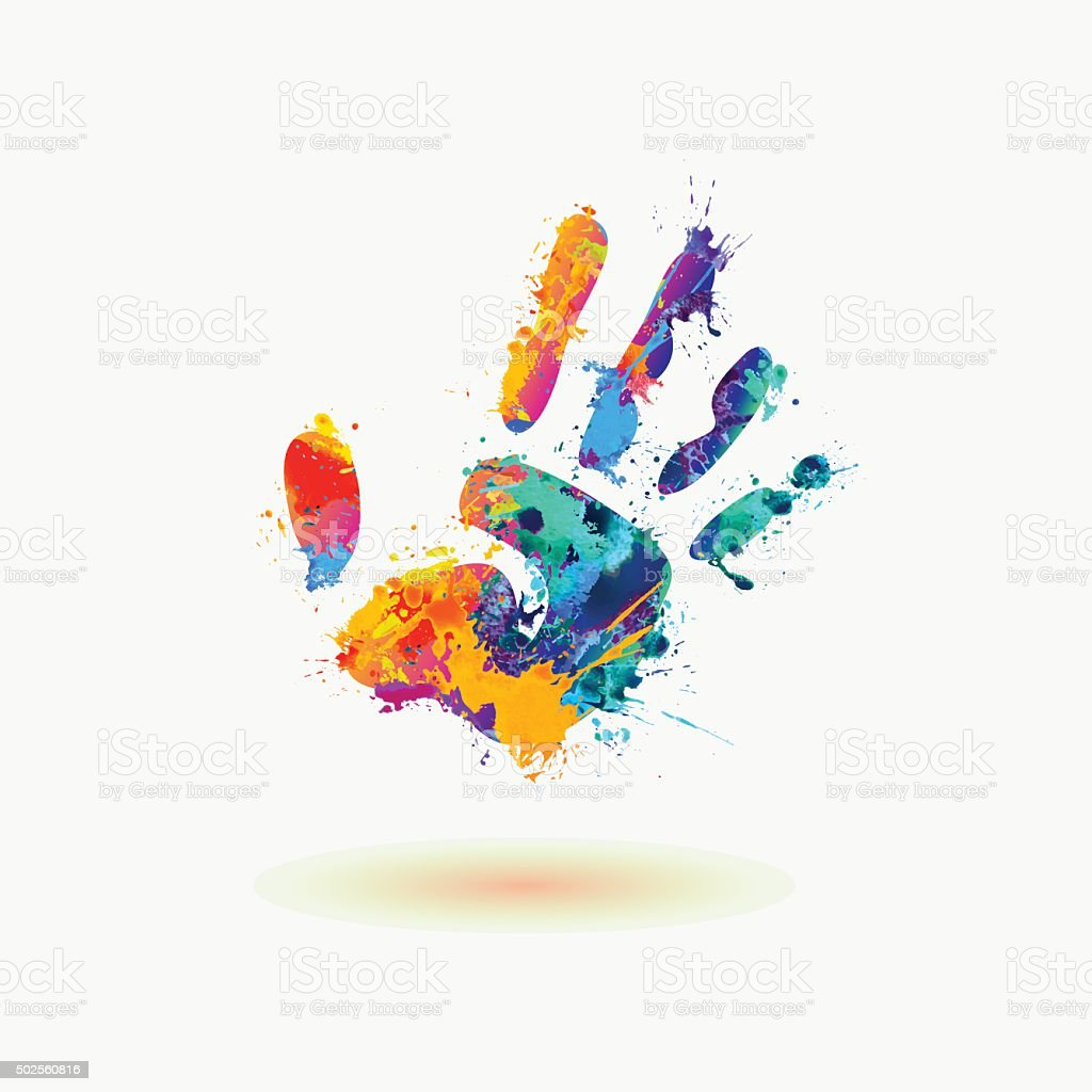 Bright Hand of paint stains. Rainbow splash vector art illustration