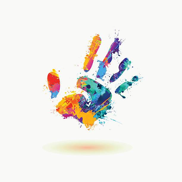stockillustraties, clipart, cartoons en iconen met bright hand of paint stains. rainbow splash - baby dirty