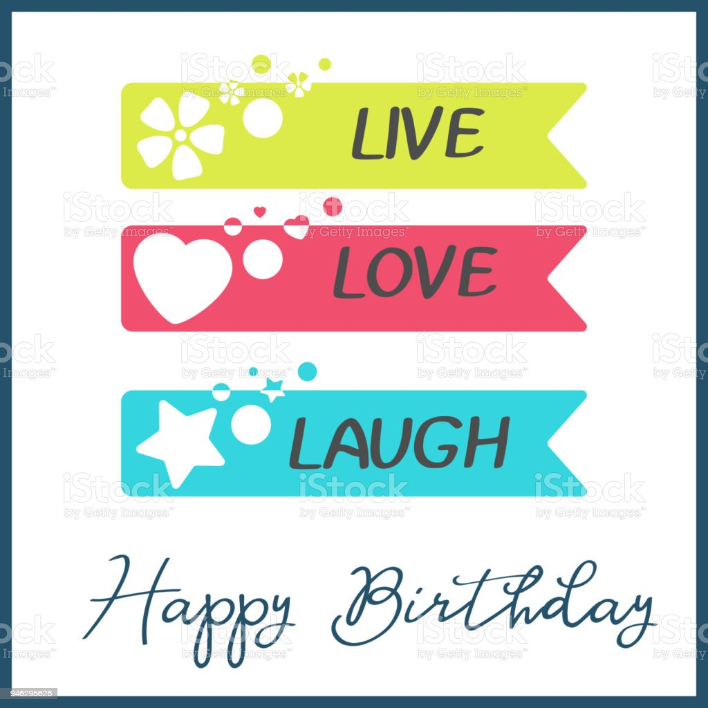 Bright Happy Birthday Greeting Card In Minimalist Style Modern