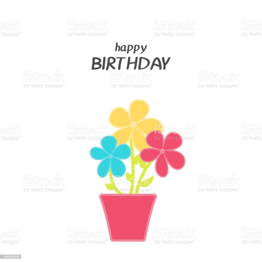 Bright Happy Birthday Greeting Card With Flowers In Minimalist Style