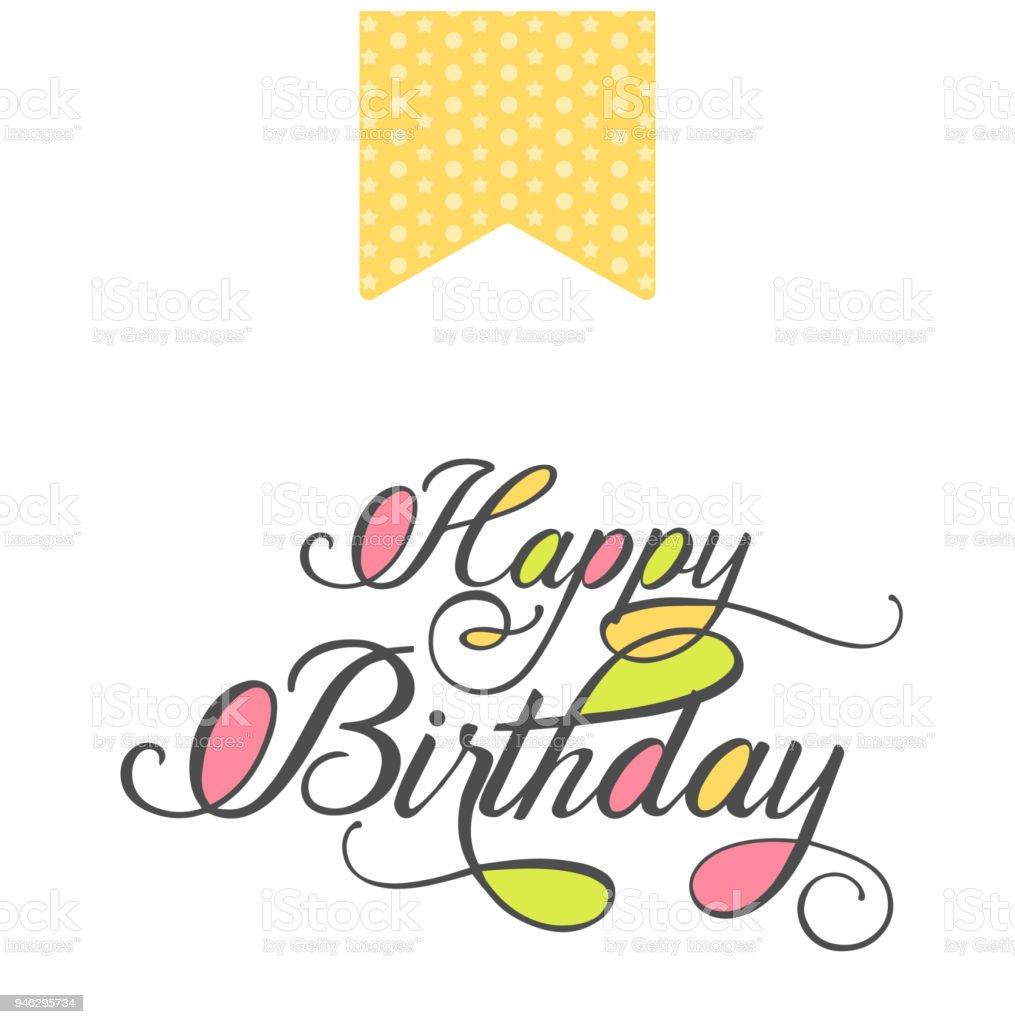 Bright Happy Birthday Greeting Card With Hand Drawn Elegant