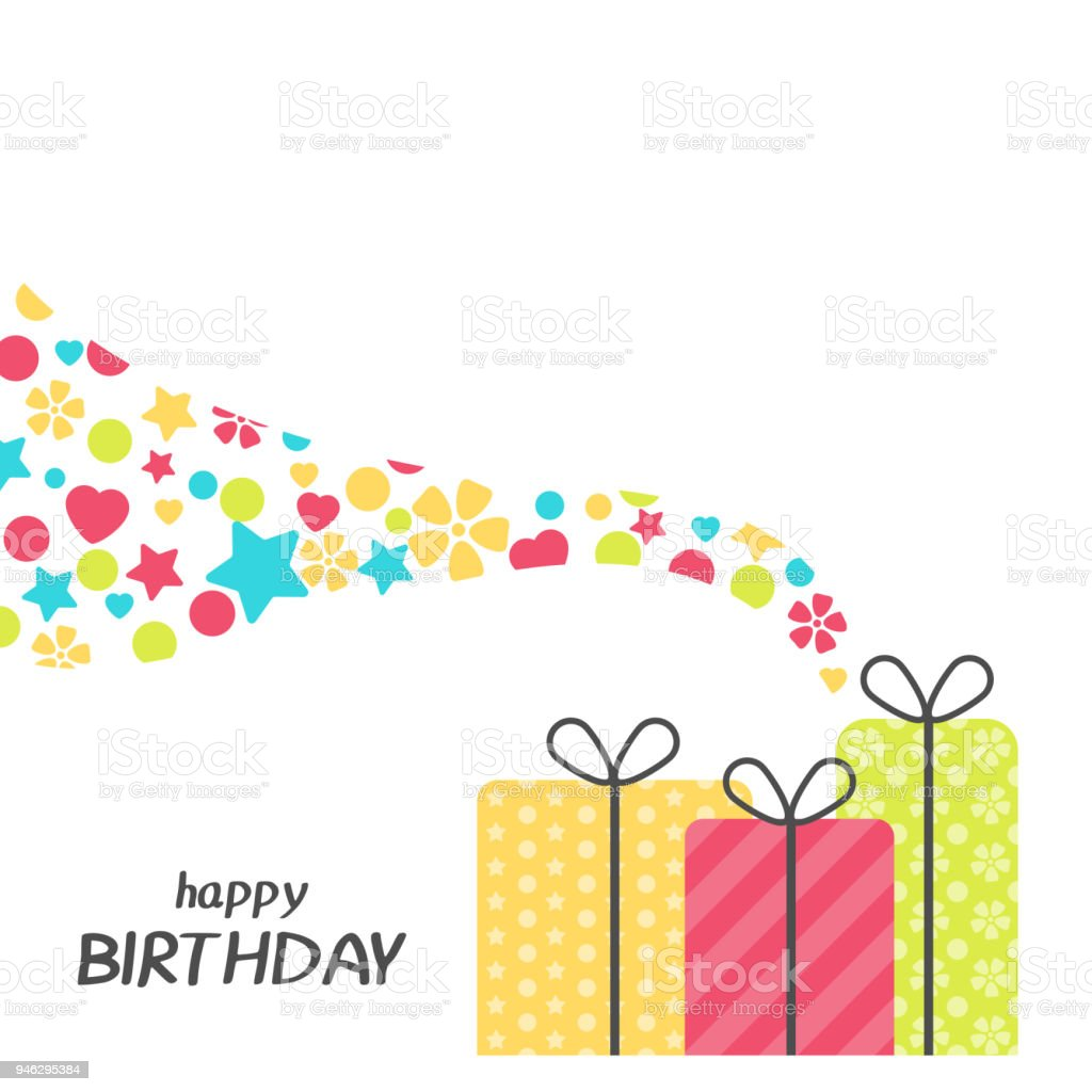 Bright Happy Birthday Greeting Card With Present Box In Minimalist