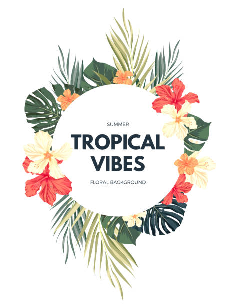 Bright hawaiian design with tropical plants and hibiscus flowers Bright hawaiian design with tropical plants and hibiscus flowers, vector illustration hawaiian culture stock illustrations