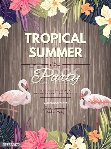 istock Bright hawaiian design with tropical plants and hibiscus flowers 576722872