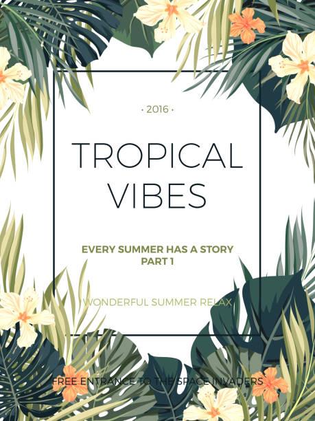 bildbanksillustrationer, clip art samt tecknat material och ikoner med bright hawaiian design with tropical plants and hibiscus flowers - amaryllis