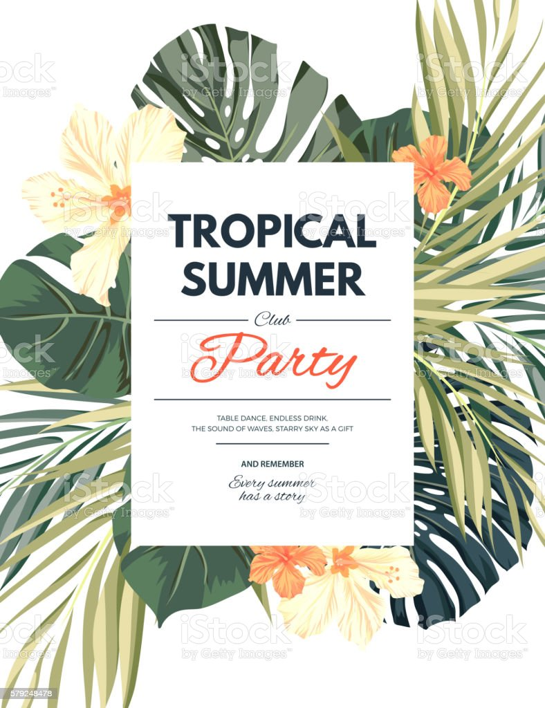 Bright hawaiian design with tropical plants and hibiscus flowers vector art illustration