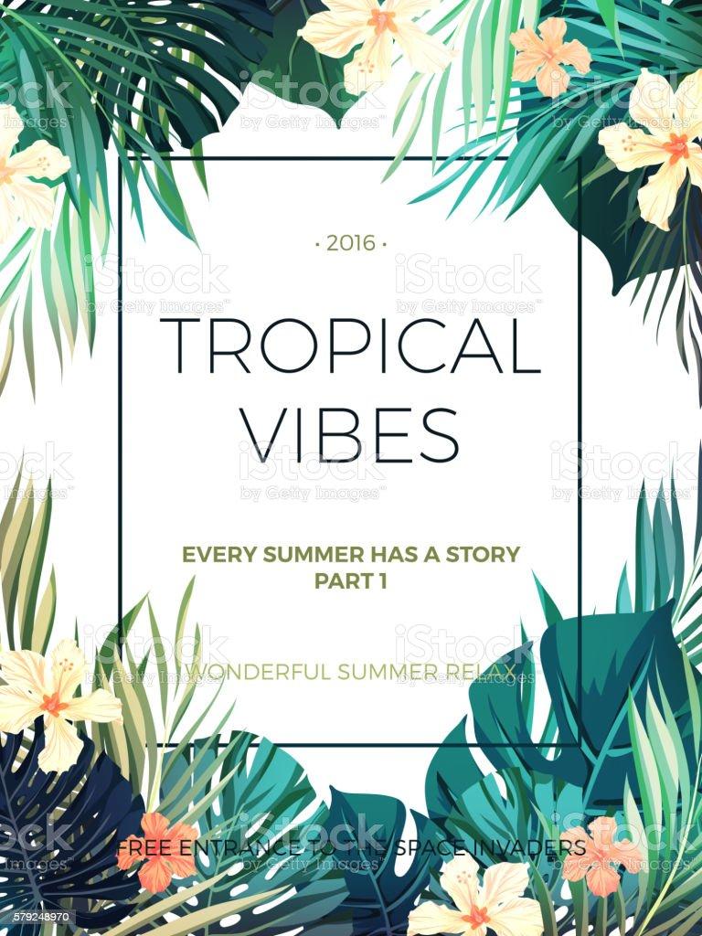 Bright hawaiian design with tropical plants and hibiscus flowers bright hawaiian design with tropical plants and hibiscus flowers royalty free bright hawaiian design with izmirmasajfo