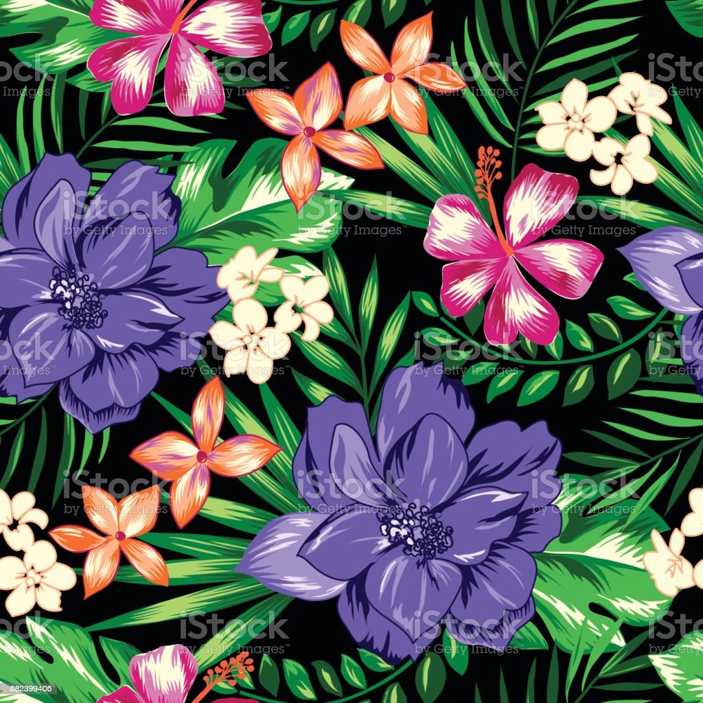 Bright Hawaiian seamless background royalty-free bright hawaiian seamless background stock vector art & more images of arts culture and entertainment