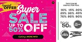 Bright Horizontal Super Sale Pink Banner. End of Season Special Offer, Sale Up To 50% Off.