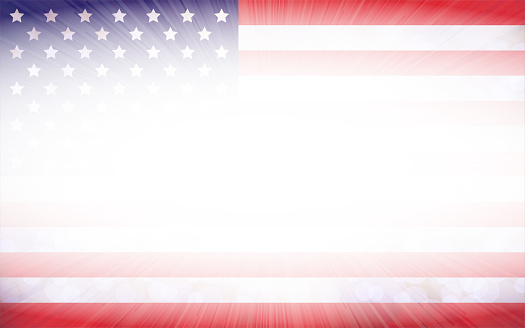 A bright horizontal vector illustration of USA flag faded from the centre and having a sunburst or sun rays emerging from the middle