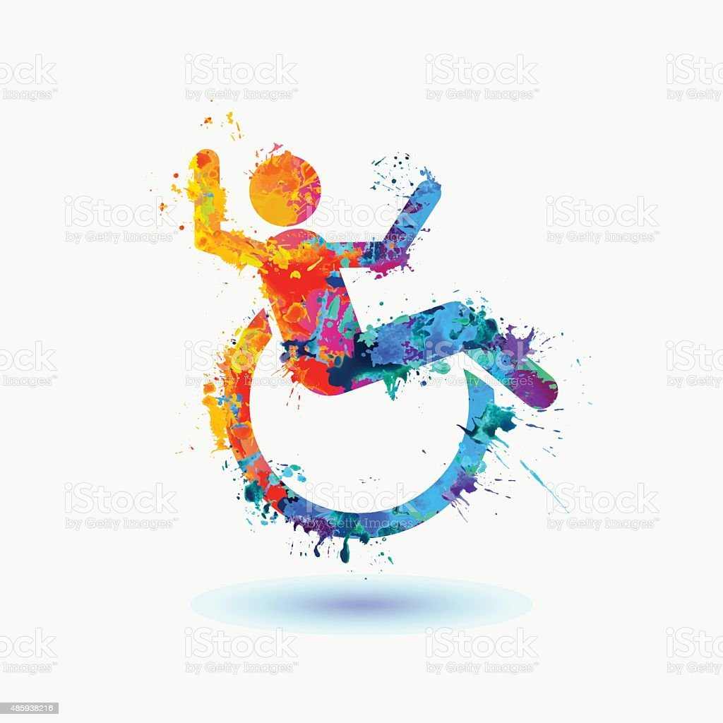 Bright  icon of happy disabled people vector art illustration